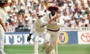 Richie Richardson making 104 against England at Edgbaston in 1991 while wearing his distinctive sun hat.