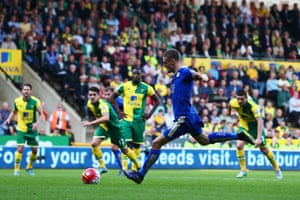 Jamie Vardy sends John Ruddy the wrong way from the spot in Leicester's 2-1 win at Norwich on 3 October