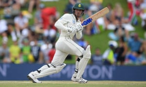 Quinton de Kock plays to the leg side during his innings of 34 from 37 deliveries for South Africa.