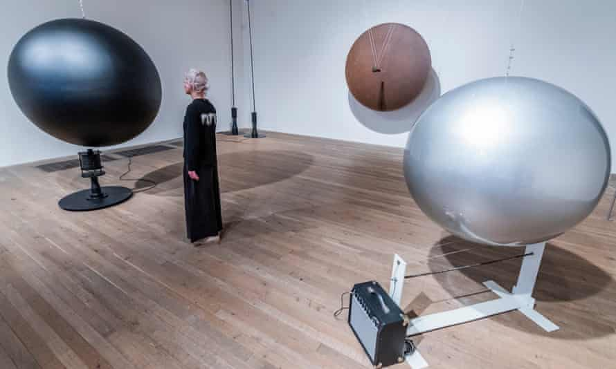 A two-metre-high Gong, 1978, made from the rusted wall of a tanker, and a moving Electromagnetic Sphere, 1979, with other works in the Takis exhibition currently at Tate Modern, London.