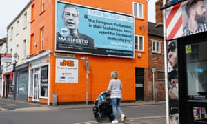 Handout photo issued by Led By Donkeys of a billboard in Taunton, Somerset, showing one of Brexit party leader Nigel Farage's previous policy pronouncements.