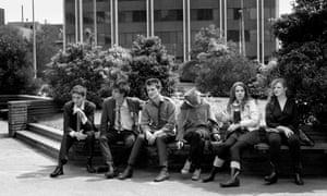 Left to right: Rowland S. Howard, Nick Cave, Ollie Olsen, Megan Bannister, Anita Lane, Bronwyn Adams, Nauru House, Melbourne, 1977