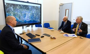 Sir Vince Cable (centre) at a briefing with Portsmouth International Port director Mike Sellers (left) and the leader of Portsmouth city council Gerald Vernon-Jackson.