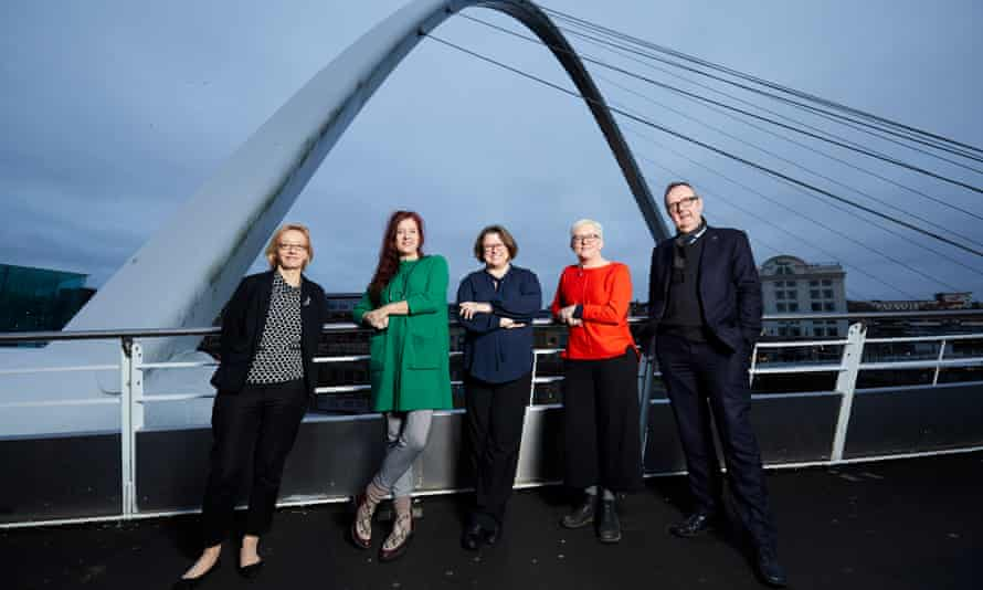 The creative team behind the 2018 Great Exhibition of the North, left to right: Abigail Pogson, Sage Gateshead managing director; Sarah Munro, creative spokesperson; Maria Bota, creative producer; executive director Carol Bell; and Ian Watson, director of Tyne and Wear archives and museums.
