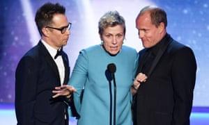 Sam Rockwell, Frances McDormand, and Woody Harrelson.