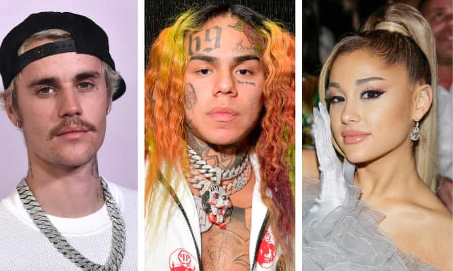 Justin Bieber, Tekashi 6ix9ine and Ariana Grande.