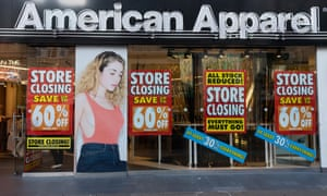 A closing-down sale at an American Apparel store in Oxford Street, central London