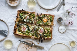 An egg and spring vegetable tart: serve with a simple lemon-dressed green salad and some buttered new potatoes.