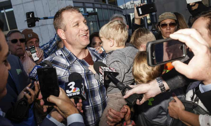 Ammon Bundy after being released from custody on 30 November 2017. He is now living under house arrest.