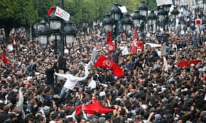Protests in Tunis, Tunisia, in 2011