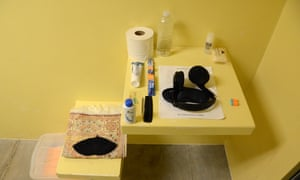 GTMO Guantanamo Bay camp and prison February 2016 Camp Six - a cell with prayer mat and a detainee's personal belongings