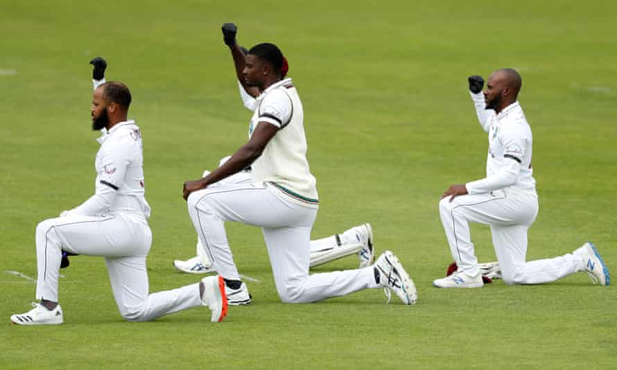 John Campbell, Jason Holder and Jermaine Blackwood of the West Indies take a knee during day one of the 1st Test match at the Ageas Bowl this year.