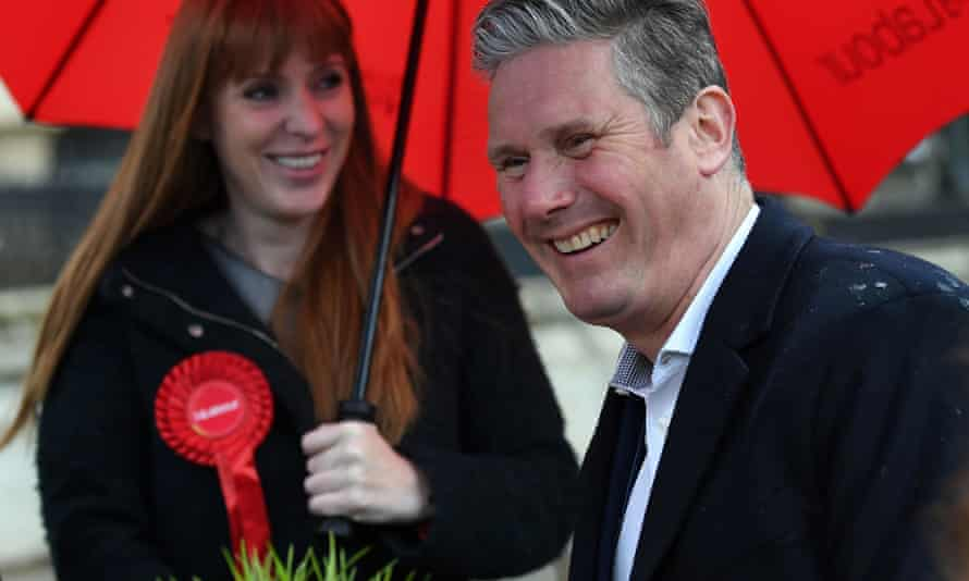 Keir Starmer and Angela Rayner campaigning in Birmingham on Wednesday.