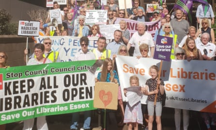 protesters outside Chelmsford county council HQ on Tuesday.
