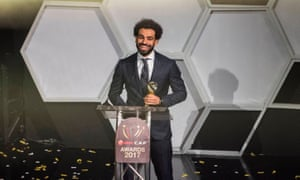 Mohamed Salah collects the African Footballer of the Year award in Accra.