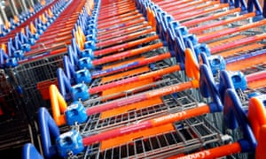 Pound problems … coin-operated shopping trolleys.