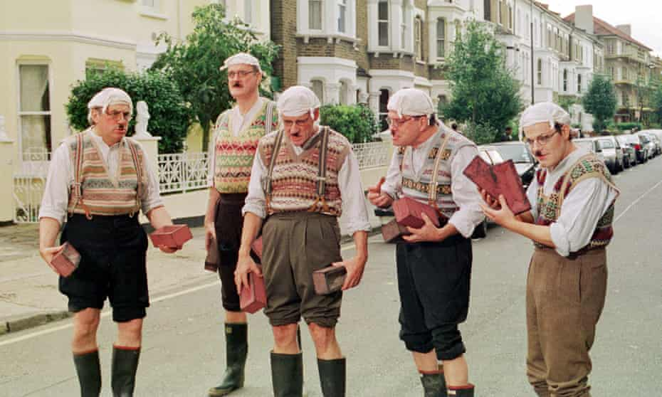 Eddie Izzard, far right, with Terry Jones, John Cleese, Michael Palin and Terry Gilliam dressed as Gumbies in 1999.