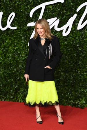 Kylie Minogue wearing Christopher Kane. The singer also presented Kane with the designers' designer award