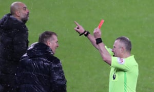 Aston Villa manager Dean Smith is sent off.