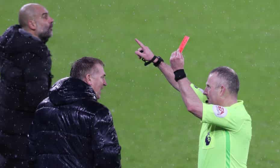 Aston Villa manager Dean Smith was sent off by referee Jon Moss.