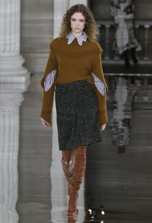 Model on the catwalk Victoria Beckham show, Runway, Fall Winter 2020, London Fashion Week, UK - 16 Feb 2020