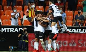 Valencia celebrate the opener.
