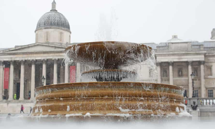 Ice on the fountains in Trafalgar Square, central London.