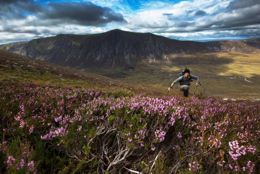 Iain Cameron on his search for snow patches on the slopes of Braeriach with Loch Eanaich and Sgor Gaoith behind