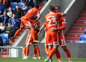Shrewsbury celebrate after Joe Nolan's goal at Oldham.