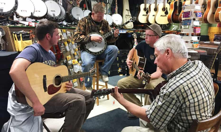 Musicians at Barr's Fiddle Shop in Galax, with Stevie Barr on banjo.