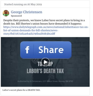 An ad spread on Facebook by George Christensen, saying Labor planned to introduce a 'death tax'
