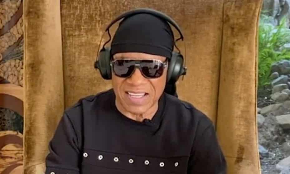 Stevie Wonder appearing on American Idol in May 2020.
