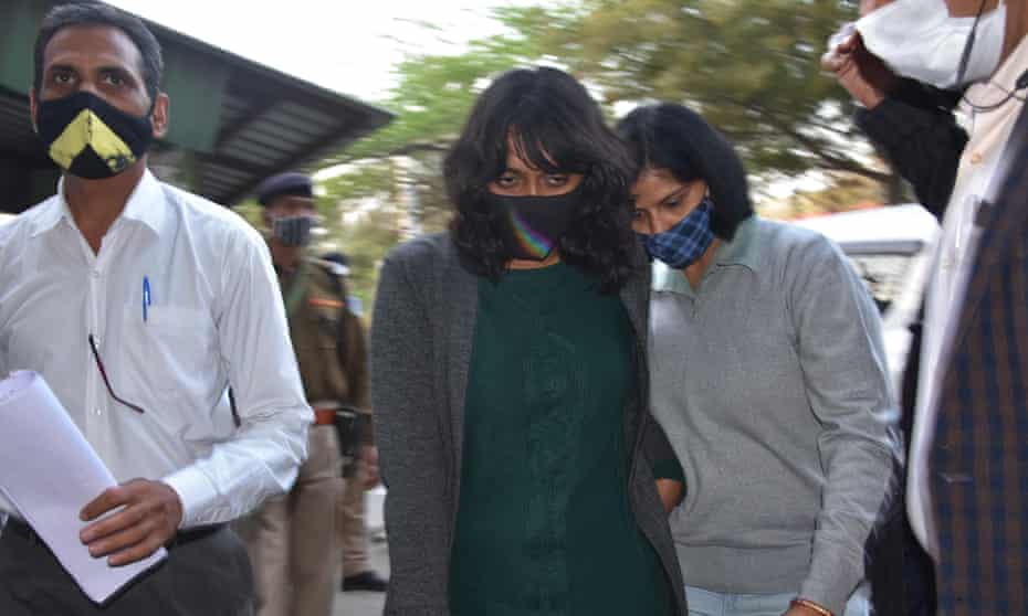 Disha Ravi outside Tihar jail after being granted bail, New Delhi, 23 February 2021