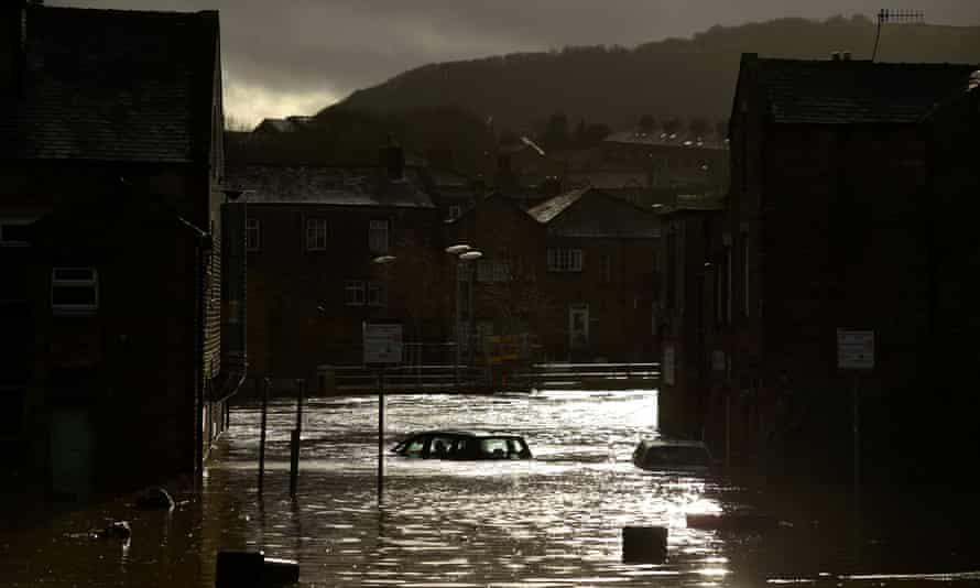 A flooded street in Mytholmroyd, West Yorkshire, after the River Calder burst its banks on 9 February.
