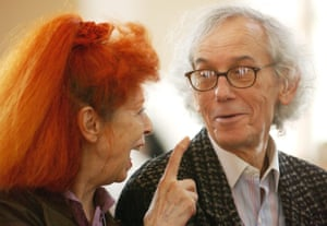 2005, New York. Jeanne-Claude and Christo are seen before being awarded the Peopling of America Award during the Ellis Island Family Heritage Awards on Ellis Island.