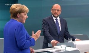 TV debate between the German chancellor, Angela Merkel, and her rival Martin Schulz in Berlin, Germany.