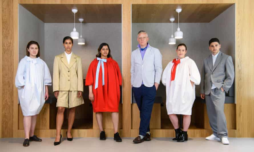Giles Deacon with models wearing his WFA clothes