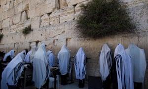Ultra-Orthodox Jews praying at the Western Wall in Jerusalem