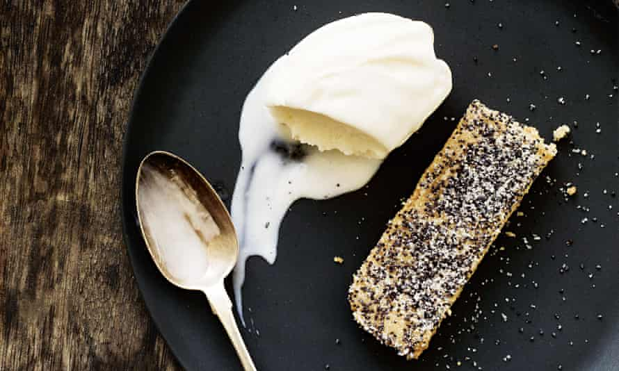 Dancing round the edge: yogurt and cardamom sorbet with brown butter and poppy seed biscuits.