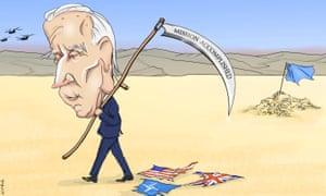 Nicola Jennings cartoon 16/8/21: Joe Biden walks across desert carrying scythe