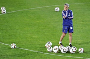 Raymond Domenech looks at his players during a training session in Saint-Pierre, on the island of Réunion.