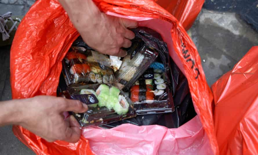 Fresh sushi meals thrown out by a restaurant in London