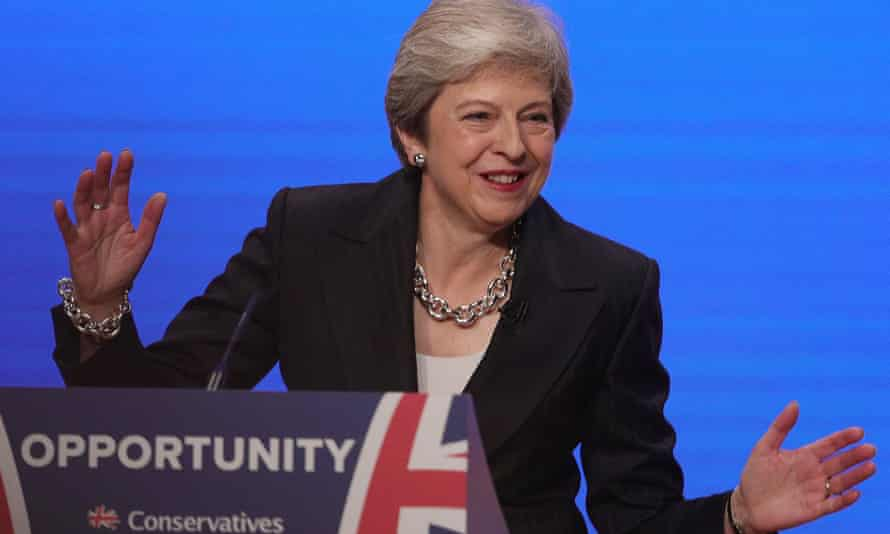 Theresa May making her 2018 Conservative Party speech