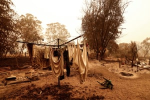 A view of fire damage in Sarsfield, Victoria