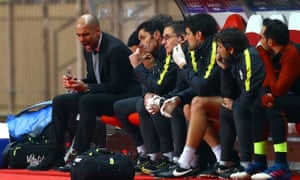 Pep Guardiola expresses his frustration after the third Monaco goal during the Champions League match in Monaco