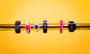 observer tech monthly fitness trackers 18/12/2014 L-R fitbit charge, misfit flash, jawbone, up move, sony smartband, jawbone up24, basis peak
