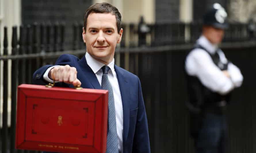 George Osborne holds up his budget box