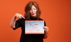 Suzanne Moore with her Fearless Flyer certificate.