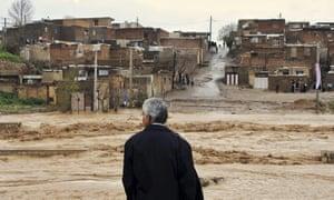 Flood waters in Khorramabad in Lorestan province, Iran