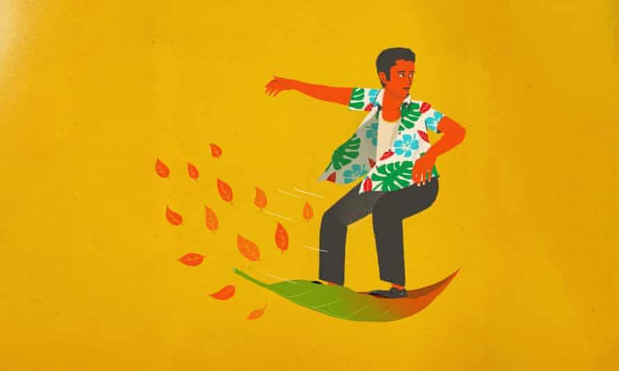 Man surfing on a leaf